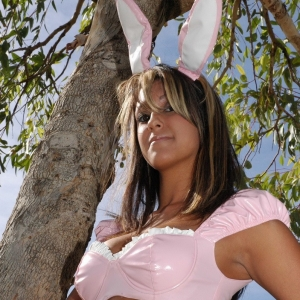 Kates sexy girlfriend Rio wishes everyone a very happy Easter while playing dress up in the park