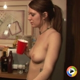 Watch as two drunk topless girls in just their panties play bartender for a bunch of guys with a HD camera