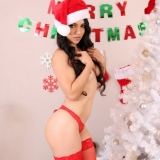 Exotic babe Tianna shows off her perky tits for the first time as she wishes us all a very Merry Christmas!