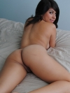 Busty babe Layla Rose strips out her purple shirt and matching lace bottoms exposing her big natural juicy tits and round perfect ass on the bed