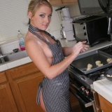 Kates stunning girlfriend Abbie gets dirty in the kitchen as she bakes cookies naked