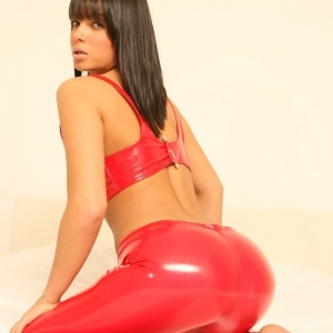 Kates perfect girlfriend Sasha shows off her delicious round ass in her extremely tight shiny red pants