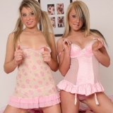 Kates sexy blonde girlfriends Chanelle and Lisa strip out of their lingerie as they get topless together