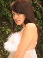 Kaydin shows off her amazing body in a white fluffy sheer outfit