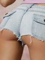 Donna shows off her tight round ass in tiny jean cutoffs