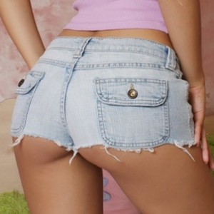 horny teen shows off her tight round ass in jean shorts