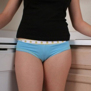 Tight teen Marylin shows off a little cameltoe in her tight blue panties