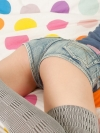 Spunky Angels Kacie James shows off her tight teen ass in very short jean shorts