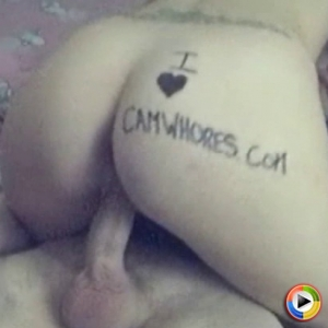 CamWhore Digital Candie shows her love for CamWhoreVids.com on her ass while she rides her friends cock