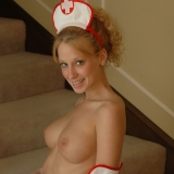 Slutty nurse Lucky wants to check your temperature for halloween as she shows off her perfect perky teenage tits